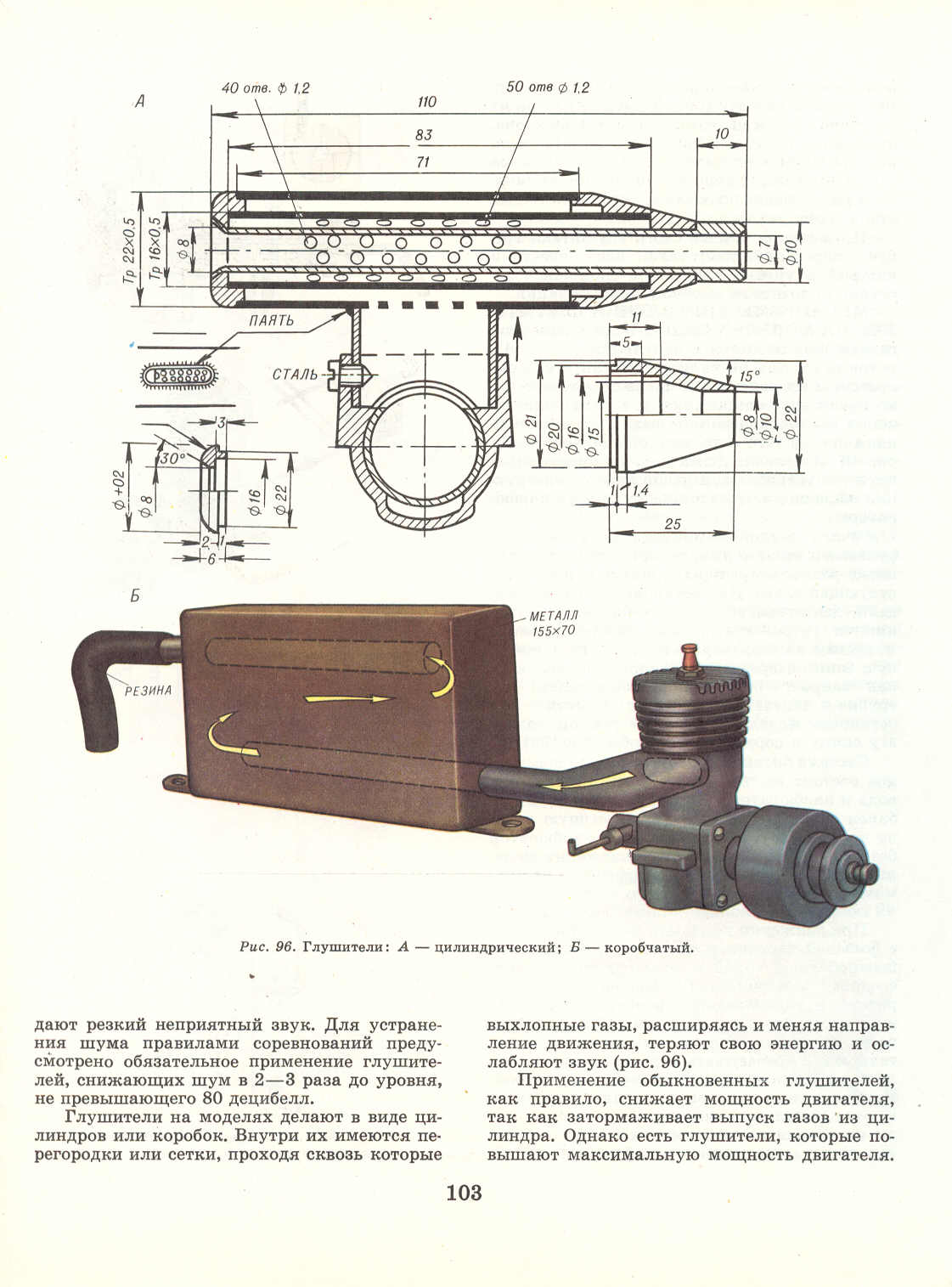 Глушитель на двухтактный двигатель